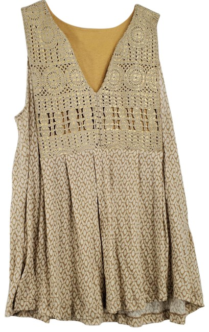 Item - Yellow Anthro Gold Knit Flowy Tank Top/Cami Size 14 (L)