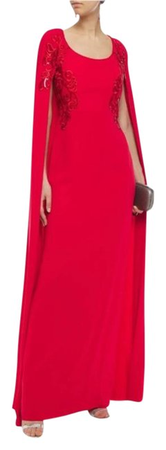 Item - Red Embroidered Cape-effect Gown Evening Long Formal Dress Size 4 (S)