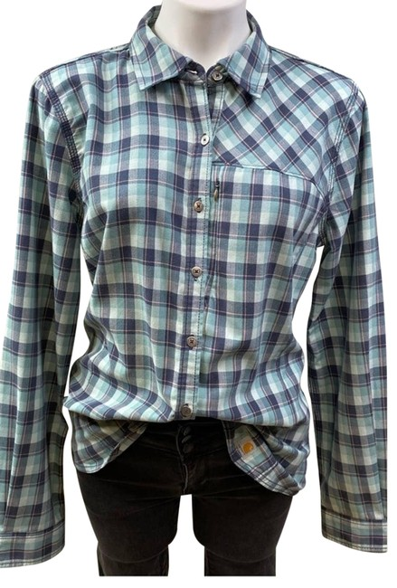 Item - Green L Force Reydell Vented Back Flannel Shirt Button-down Top Size 12 (L)