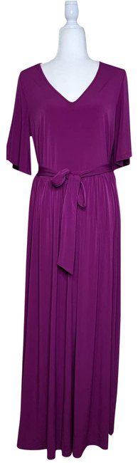 Item - Purple Fit and Flare Flutter Sleeve Long Casual Maxi Dress Size 12 (L)