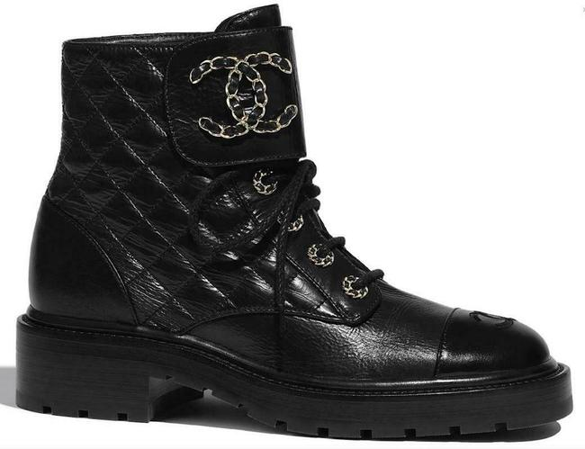 Item - Black 21a Quilted Gold Cc Chain Combat Lace Up Tie Ankle Boots/Booties Size EU 38 (Approx. US 8) Regular (M, B)