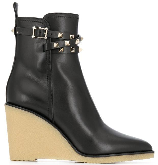 Item - Black Rockstud Leather Wedge Heel Pointed Ankle Boots/Booties Size EU 38.5 (Approx. US 8.5) Regular (M, B)