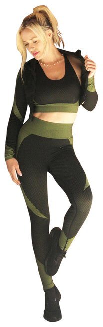 Item - Black with Green Trois Seamless Jacket Leggings & Sports Top 3 Set - Activewear Gear Size 14 (L, 34)