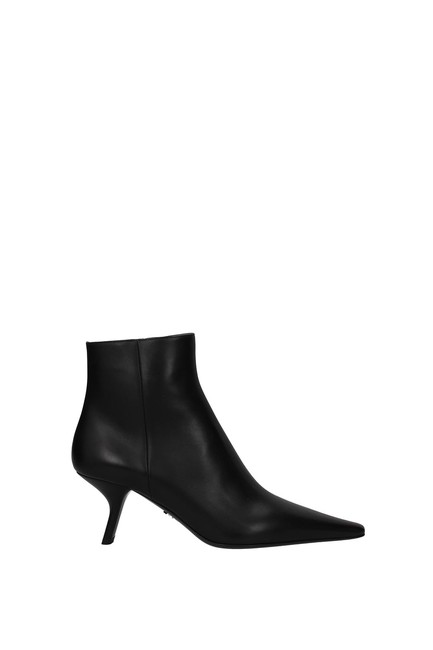 Item - Black Ankle Women Leather Boots/Booties Size EU 40 (Approx. US 10) Regular (M, B)