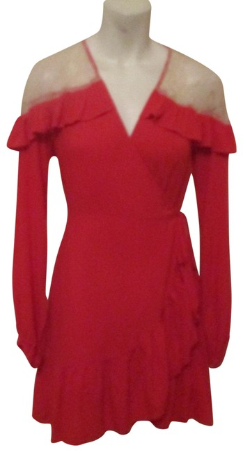 Item - Red Contemporary Ruffled Lace Trim Wrap Short Night Out Dress Size 8 (M)