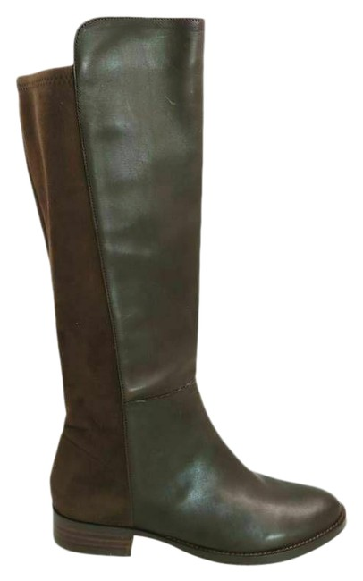 Item - Brown Womens Knee High Leather Almond Toe Low Heels Pu Boots/Booties Size US 7 Regular (M, B)