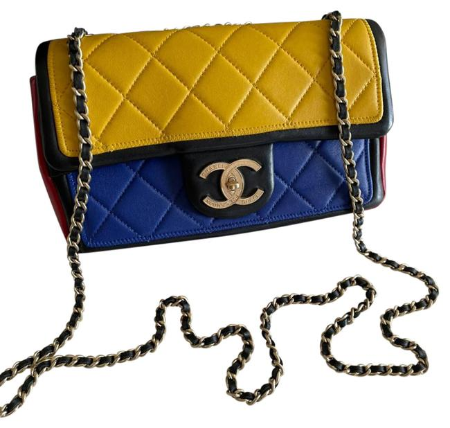 Item - Handbag Classic Flap Color Block Tri-color Small Graphic Yellow Blue Red Leather Shoulder Bag