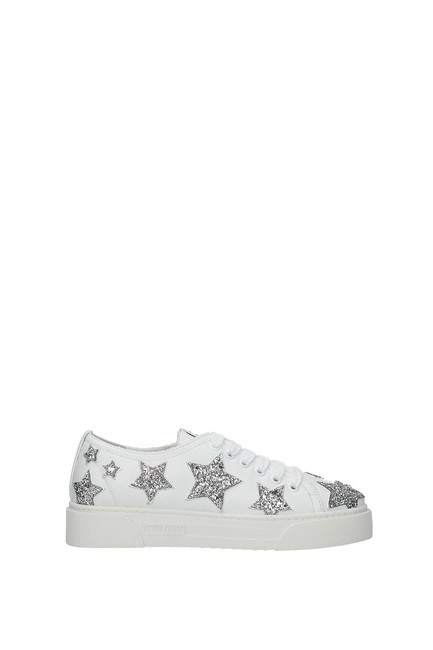 Item - White Women Leather Silver Sneakers Size EU 37.5 (Approx. US 7.5) Regular (M, B)
