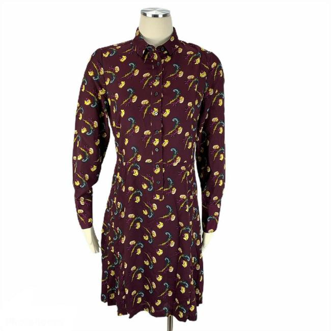 Item - Red Modest Maroon Floral Mid-length Work/Office Dress Size 8 (M)