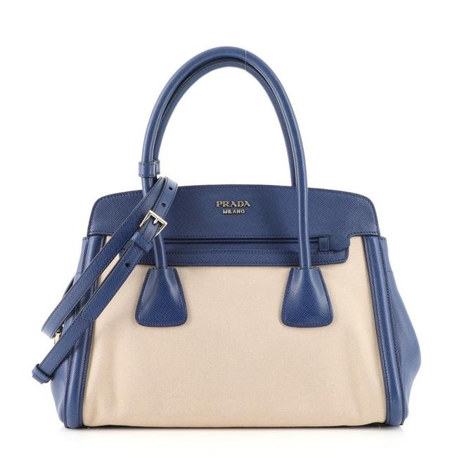 Item - Cuir Frame Convertible and Saffiano Small Blue Neutral Canvas (Plain) Leather Tote