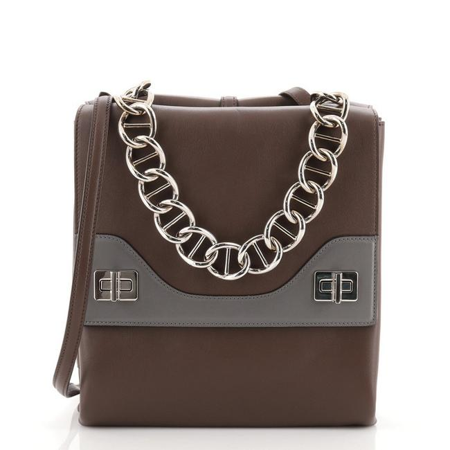Item - Double Flap Turn Lock Small Brown Leather Shoulder Bag