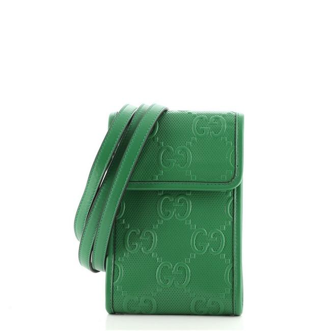 Item - Flap Gg Embossed Perforated Mini Green Leather Cross Body Bag