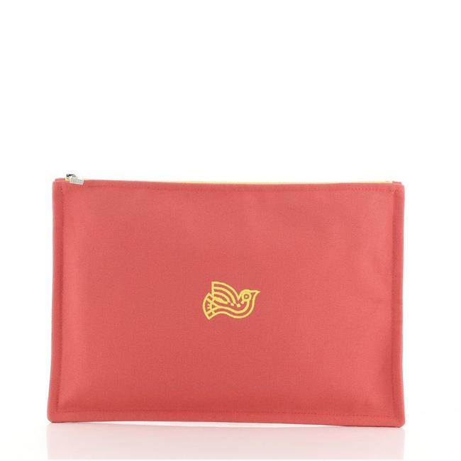 Item - Flat Yachting Pouch Toile Gm Pink Canvas Plain Clutch