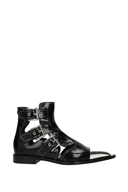 Item - Black Ankle Women Leather Boots/Booties Size EU 38 (Approx. US 8) Regular (M, B)