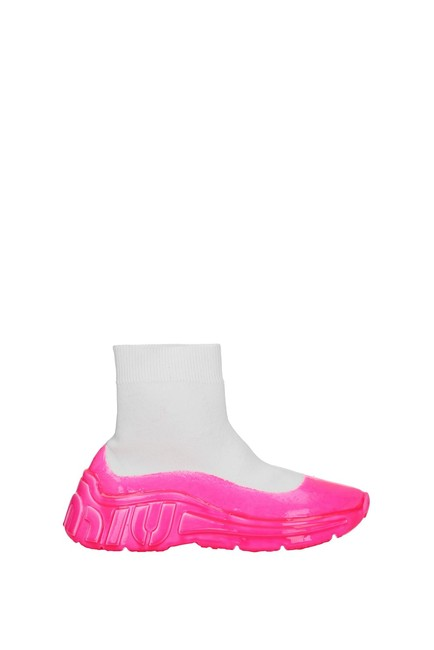 Item - White Ankle Women Fabric Fluo Pink Boots/Booties Size EU 38.5 (Approx. US 8.5) Regular (M, B)