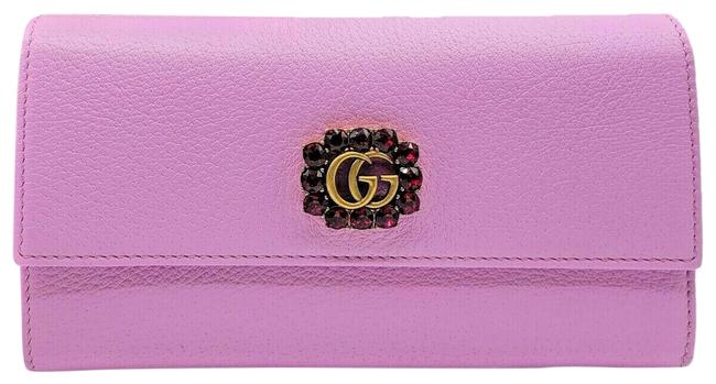 Item - Pink Leather Long Flap with Red Crystal Gg Flower 499779 5871 G Wallet