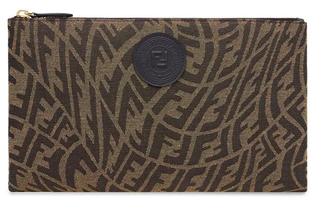Item - New Ff Zip Pouch Brown Canvas Clutch