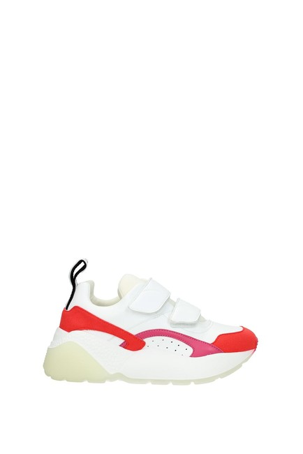 Item - White Women Eco Leather Red Sneakers Size EU 35 (Approx. US 5) Regular (M, B)