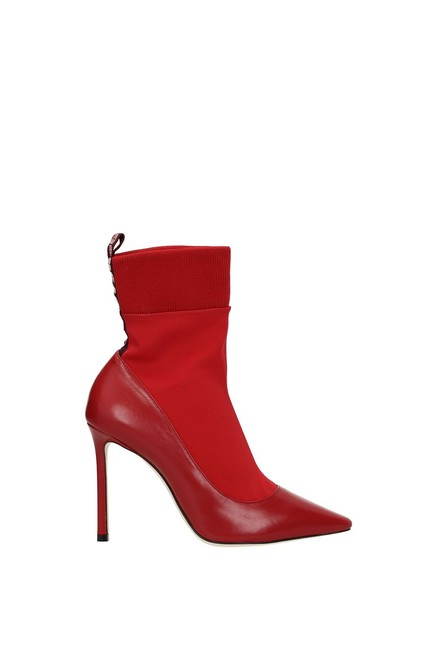 Item - Red Ankle Women Leather Boots/Booties Size EU 38.5 (Approx. US 8.5) Regular (M, B)