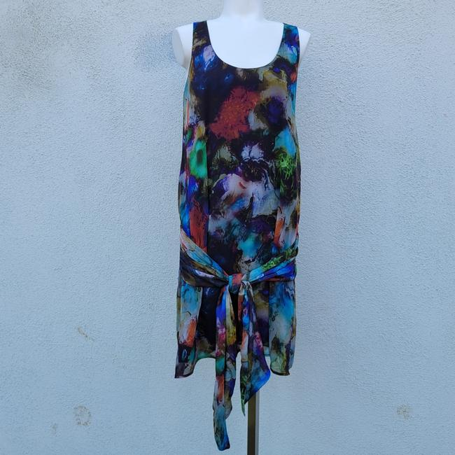 Item - Navy Blue Multi-color Sample Style Short Casual Dress Size 6 (S)