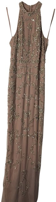 Item - Dusted Petal Beaded Halter Neck Gown Long Cocktail Dress Size 0 (XS)
