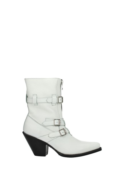 Item - White Ankle Women Leather Boots/Booties Size EU 37 (Approx. US 7) Regular (M, B)