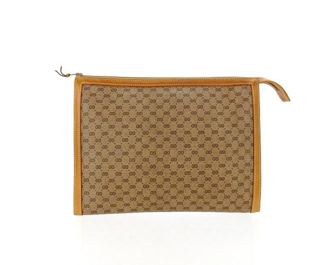 Item - Brown Supreme Gg Coated Canvas Leather Travel Toiletry Vintage Cosmetic Bag