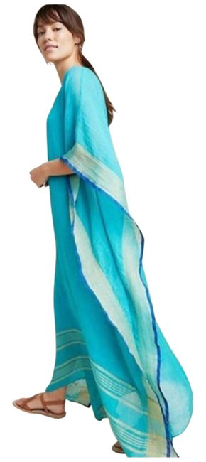 Item - Blue Gold Ro's Garden Stella Kaftan Cover-up/Sarong Size 12 (L)