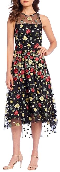 Item - Black Red Embroidered Floral Sleeveless Mid-length Cocktail Dress Size 4 (S)