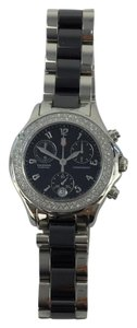 Michele Michele Tahitian Ceramic Stainless Steel Black Diamond Watch