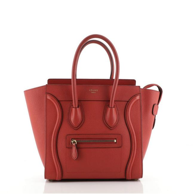 Item - Luggage Grainy Micro Red Leather Tote