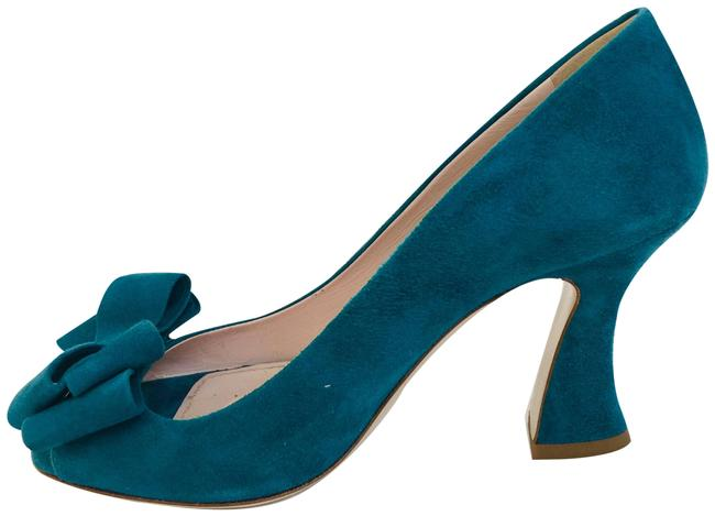 Item - Turquoise Suede Bow Pumps Size EU 37.5 (Approx. US 7.5) Regular (M, B)