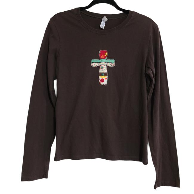 Item - Multicolor Womens Long Sleeve Brown Christian Cross Large 1234 Tee Shirt Size 12 (L)