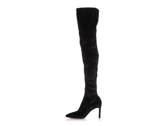 Item - Black Crushed Velvet Over The Knee Boots/Booties Size EU 39 (Approx. US 9) Regular (M, B)