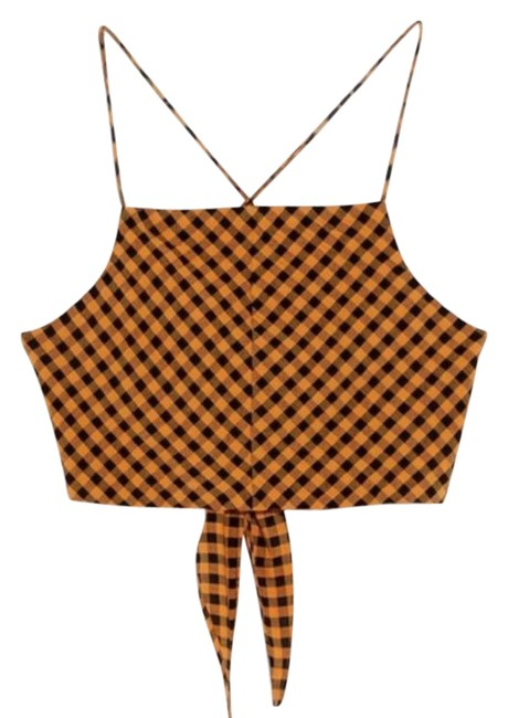 Item - Yellow Cropped Gingham Tank Top/Cami Size 2 (XS)