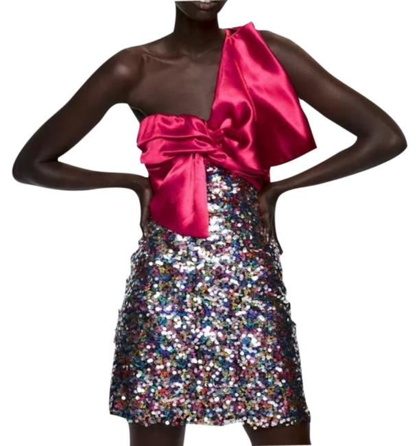 Item - Black/Red Sequin Mini with Pink Bow Short Casual Dress Size 8 (M)