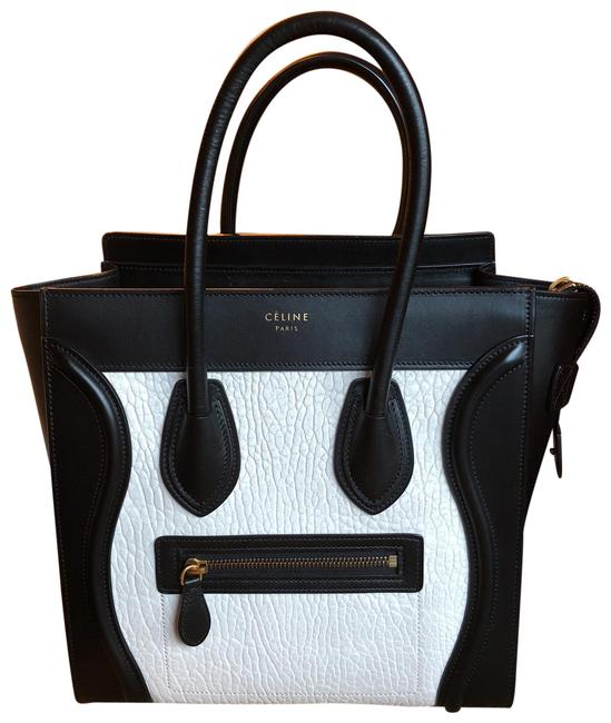 Item - Luggage Micro Black and White Leather Satchel