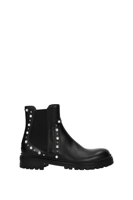 Item - Black Ankle Women Leather Boots/Booties Size EU 37 (Approx. US 7) Regular (M, B)