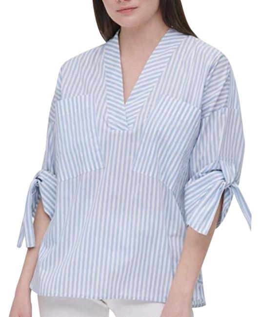 Item - White/Blue L Striped Relax Pullover Blouse Size 12 (L)