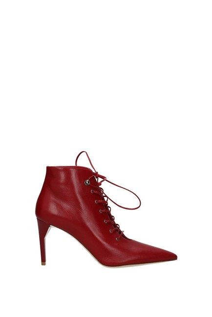 Item - Red Ankle Women Leather Boots/Booties Size EU 41 (Approx. US 11) Regular (M, B)