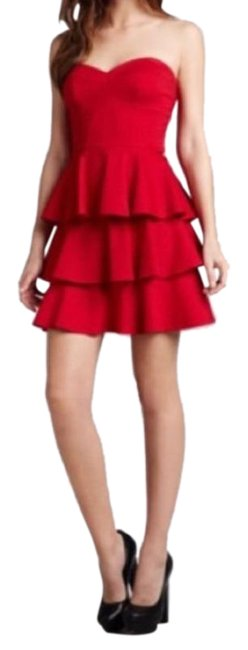Item - Red Satin Strapless Short Casual Dress Size 6 (S)