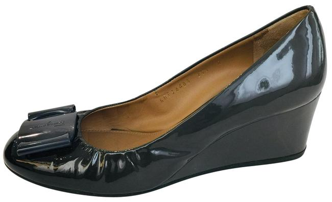 Item - Grey Two Tone Patent Leather Pumps Wedges Size US 8 Regular (M, B)
