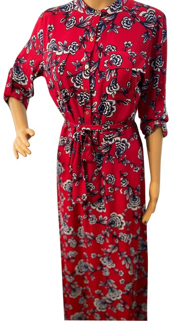 Item - Red With Flowers Long Casual Maxi Dress Size 6 (S)