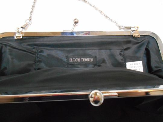 Bijoux Terner Evening Prom Purse Scales Circles Silver Optional Chain Formal Satin Black Clutch