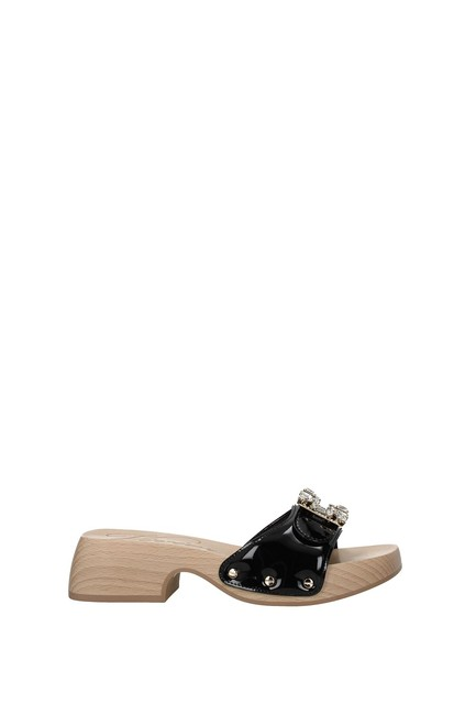 Item - Black Slippers and Clogs Women Patent Leather Flats Size EU 36 (Approx. US 6) Regular (M, B)