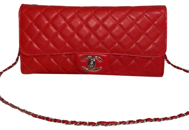 Item - With Chain with Silver Hardware Red Lambskin Leather Clutch