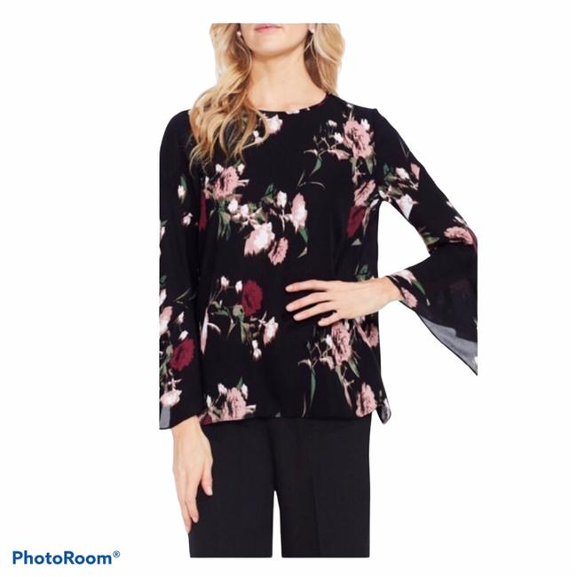Item - Black and Pink Floral Print Bell Sleeve Blouse Size Petite 14 (L)