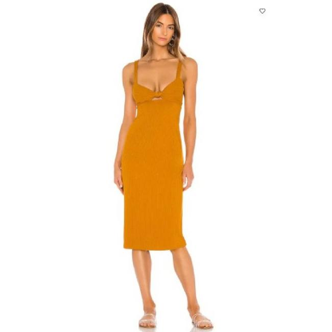 Item - Yellow L Kaia Ribbed Bodycon Midi Open Back Mid-length Cocktail Dress Size 8 (M)
