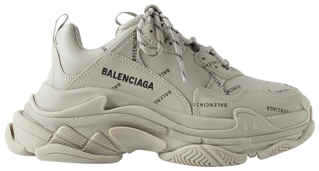 Item - Beige Triple S Printed Leather and Mesh Sneakers Size EU 38 (Approx. US 8) Regular (M, B)
