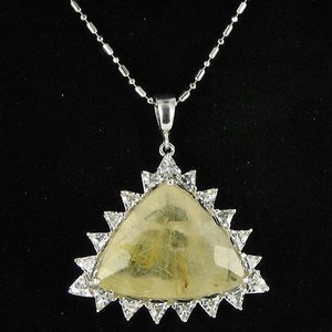 Anzie Anzie Aztec Triangle Pendant Necklace Rutilated Quartz White Topaz 925